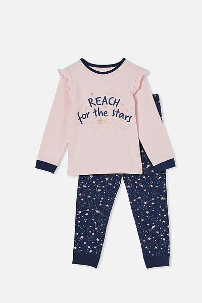 Florence Long Sleeve Pyjama Set, REACH FOR THE STARS/PINK QUARTZ