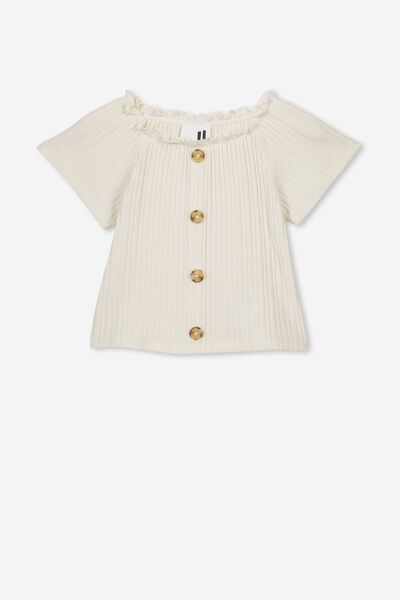 Effie Short Sleeve Button Through Top, DARK VANILLA