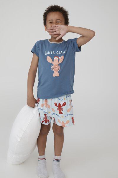 Hudson Short Sleeve Pyjama Set, SANTA CLAWS LOBSTER/PETTY BLUE