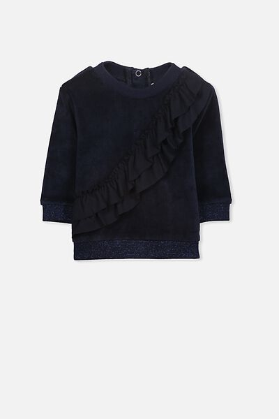 Sky Velour Frill Jumper, TWILIGHT BLUE