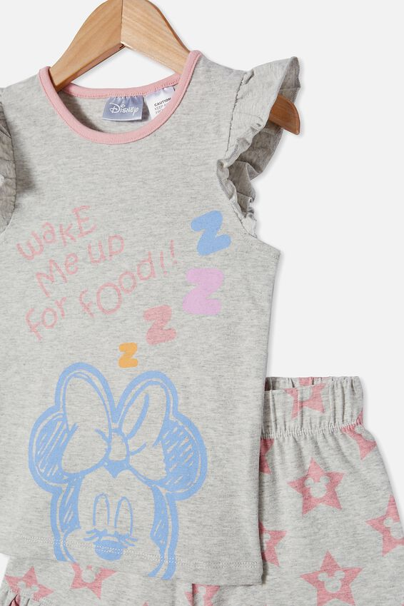 Stacey Flutter Short Sleeve Pyjama Set Licensed, LCN DIS MINNIE FOOD / SUMMER GREY MARLE