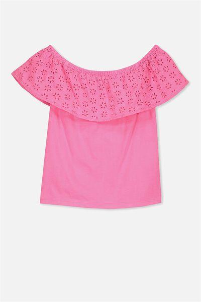 Anna Short Sleeve Frill Top, POWER PINK
