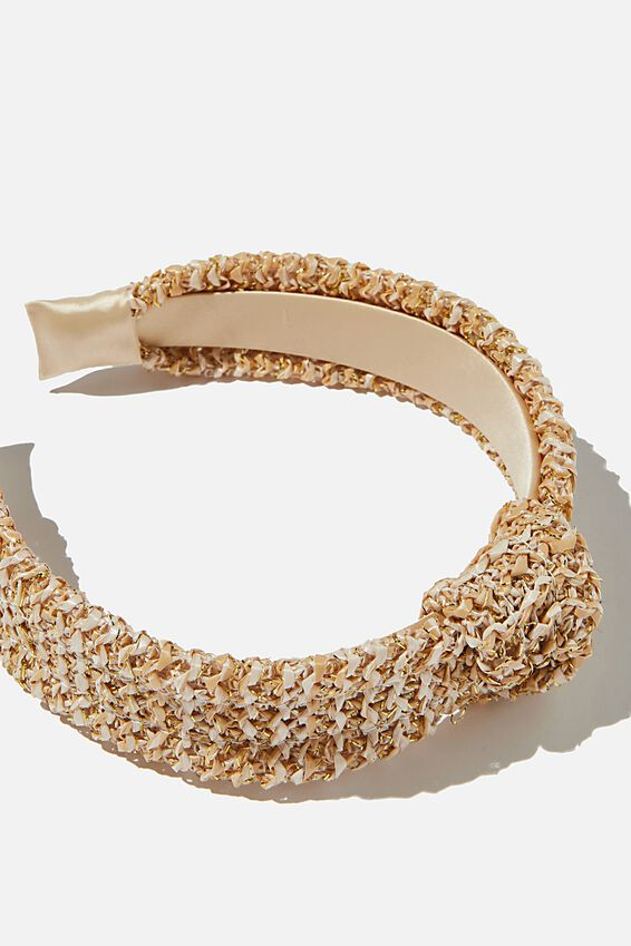 Headband Raffia Fashion, SPARKLY NATURAL