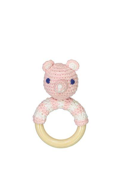 Luxe Baby Rattle, PINK POLAR BEAR
