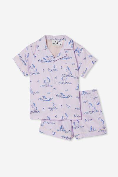 Patty Short Sleeve Pyjama Set, CANYON UNICORN MEADOW/LAVENDAR FOG
