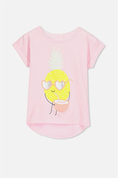 Penelope Short Sleeve Roll Up Tee, PINK LADY/COOL PINEAPPLE