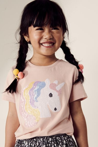 Stevie Ss Embellished Tee, PEACH WHIP/SEQUIN UNICORN
