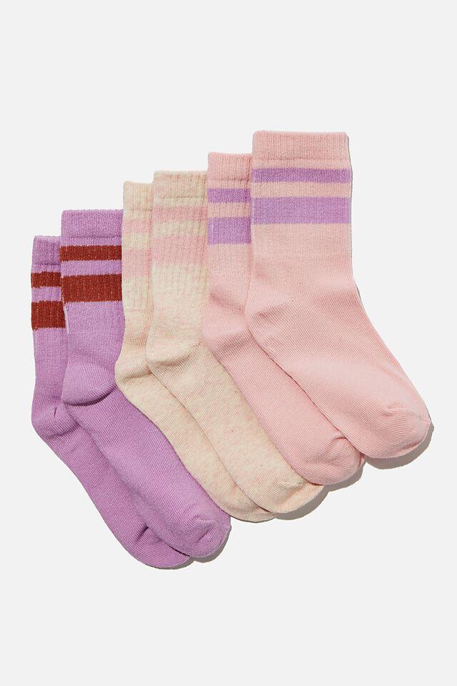 Kids 3Pk Crew Socks, PALE VIOLET