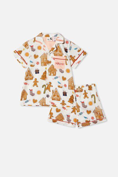 Riley Short Sleeve Pyjama Set Personalised, GINGERBREAD XMAS/VANILLA