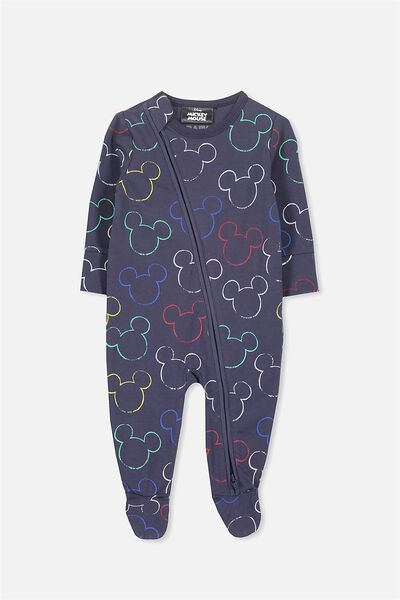 License Snug Zip Through All In One, WASHED NAVY/MICKEY OUTLINE
