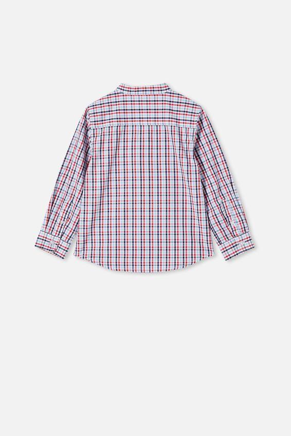 Grandpa Collar Prep Shirt, MINI CHECK/LUCKY RED/INDIGO/SKY HAZE
