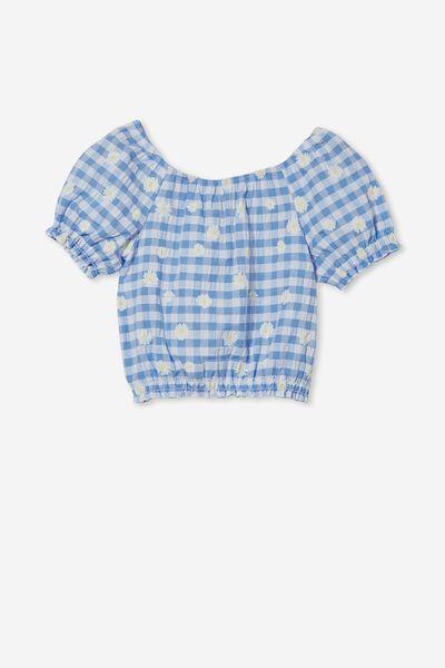 Adelaide Puff Sleeve Top, DUSK BLUE GINGHAM/DAISIES