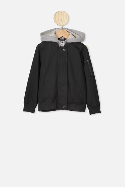 Staple Hooded Bomber, BLACK