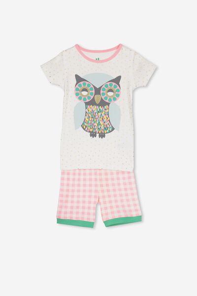Nicole Short Sleeve Girls Pj, NEW GLITTER OWL