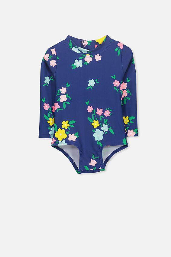 Malia Long Sleeve One Piece Swimsuit, BATEAU BLUE FLORAL