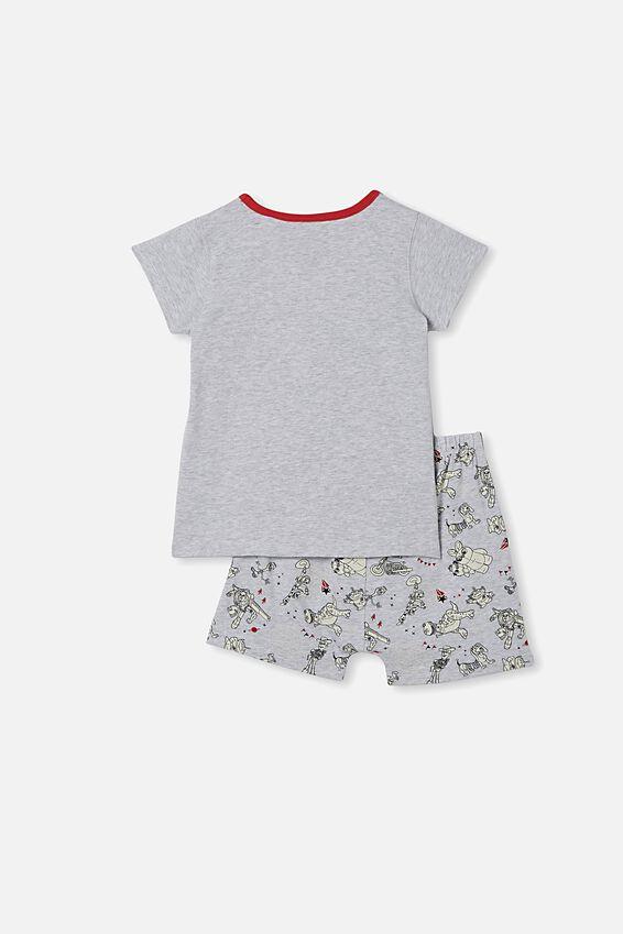 Hudson Short Sleeve Pyjama Set, LCN DIS DUKE CABOOM SUMMER GREY MARLE