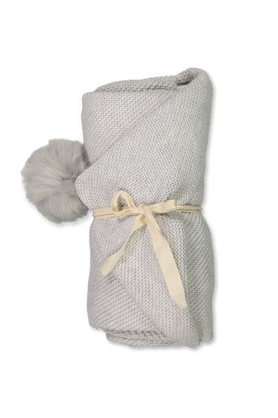 Cotton Knit Blanket, CLOUD MARLE/POM POM