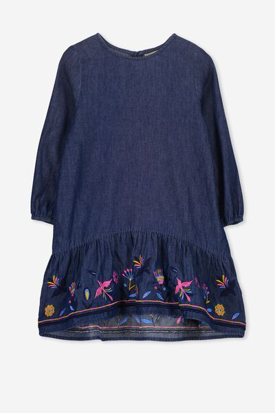 Nelida Long Sleeve Dress, DARK WASH/BORDER FLORAL