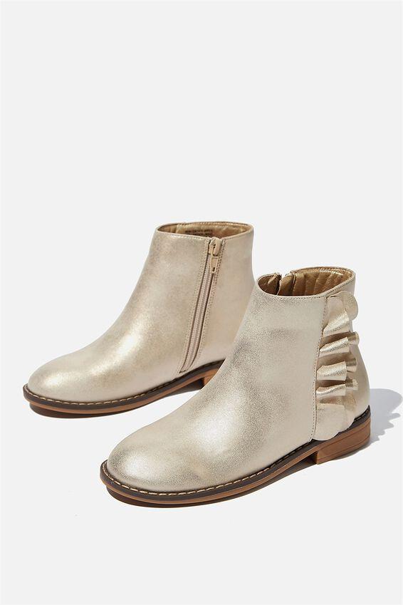 Ruffle Ankle Boot, GOLD METALLIC