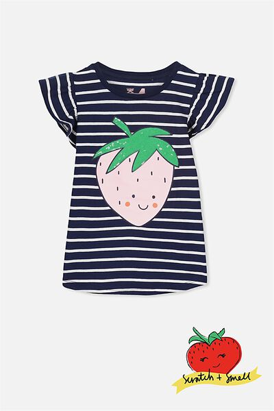 Anna Short Sleeve Flutter Tee, PEACOAT/VANILLA STRIPE/STRAWBERRY