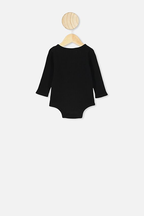 The Long Sleeve Waffle Bubbysuit, BLACK