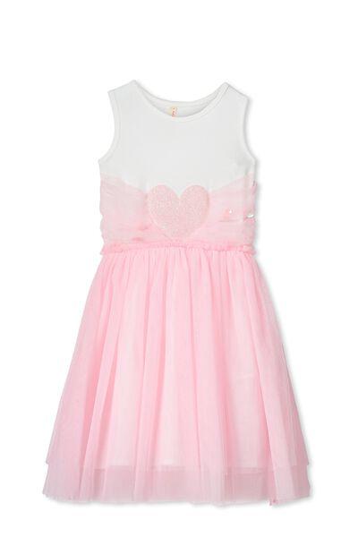 Iris Tulle Dress, PINK SORBET/GLITTER HEART