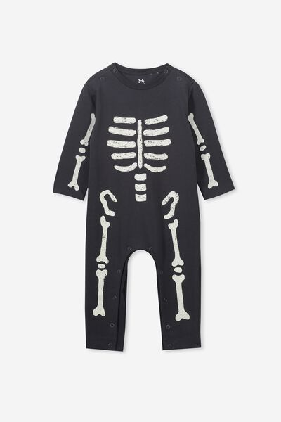 The Long Sleeve Snap Romper, BLACK/SKELETON