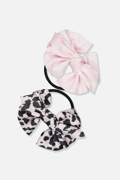 Bow Hair Tie, PINK/ANIMAL