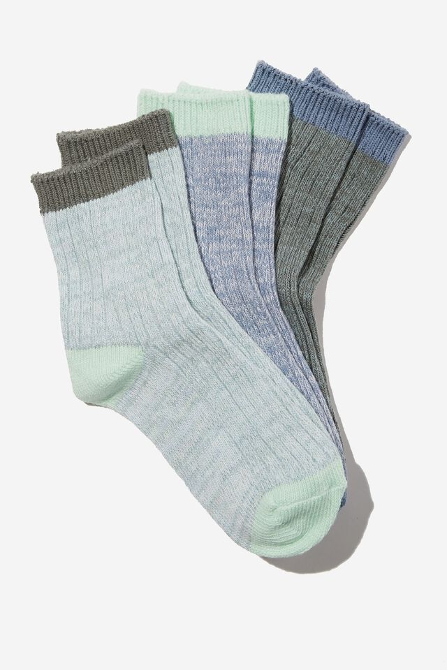 Kids 3Pk Crew Socks, SWAG GREEN CHUNKY RIB