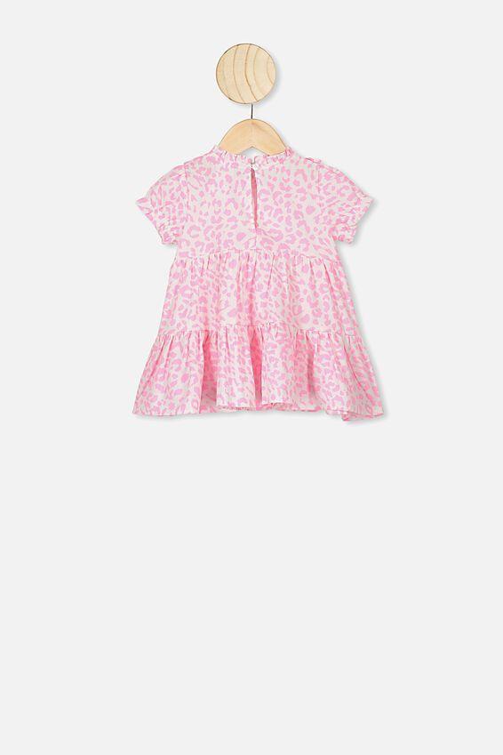 Carol Short Sleeveflutter Dress, WHITE/CALI PINK SUMMER OCELOT