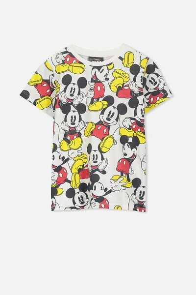 Short Sleeve License Tee, VANILLA/CLASSIC MICKEY YARDAGE