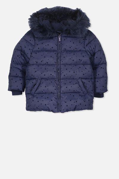 Davina Puffer Jacket, PEACOAT/FLOCKSTAR