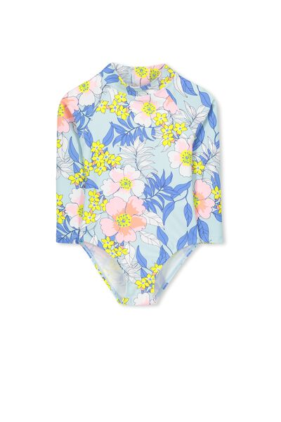 Lydia Rashie Swimsuit, YOLO BLUE/PASTEL TROPICAL
