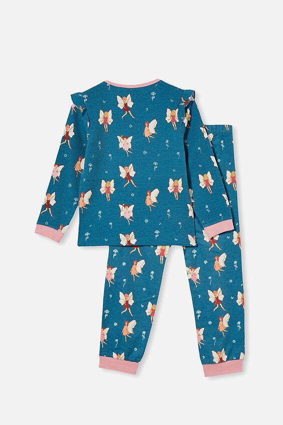 Edith Long Sleeve Pyjama Set, FAIRIES / TEAL STORM