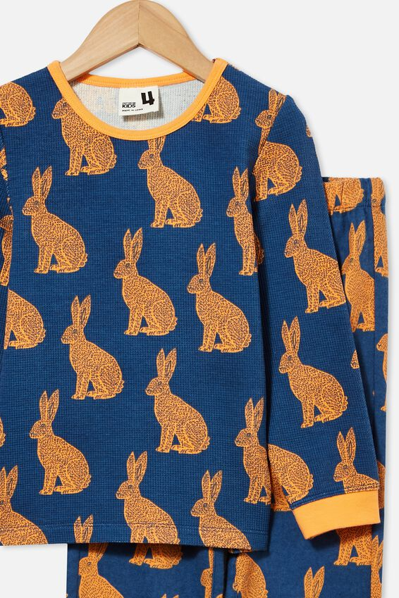 Noah Long Sleeve Pyjama Set, LINOCUT BUNNY/PETTY BLUE