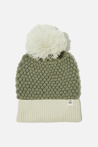 Winter Knit Beanie, SILVER SAGE PINEAPPLE KNIT