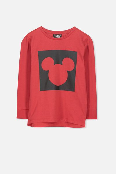License Long Sleeve Tee, BONFIRE RED/SQUARE MICKEY