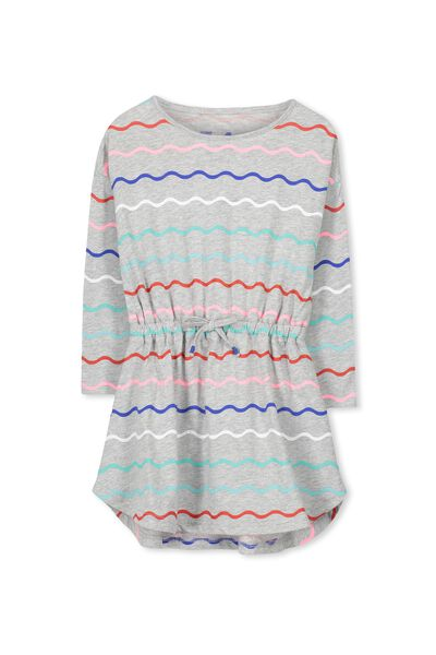 Eloise Long Sleeve Dress, LIGHT GREY MARLE/MULTI WAVES