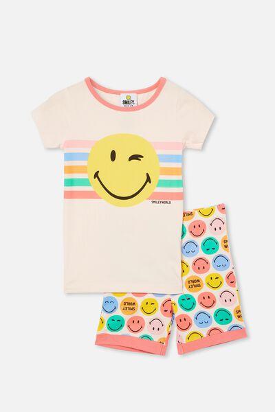 Nikki Short Sleeve Pyjama Set Licensed, LCN SMILEY FACE CRYSTAL PINK