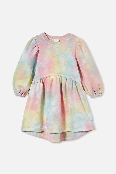 Flora Long Sleeve Dress, PASTEL RAINBOW TIE DYE