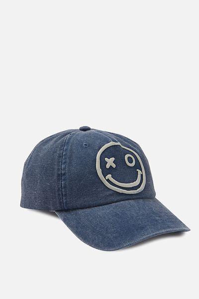 Baseball Cap, BLUE SMILEY