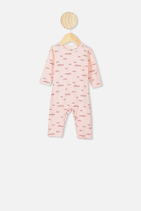 The Long Sleeve Snap Romper, CRYSTAL PINK/LITTLE SCRIBBLE