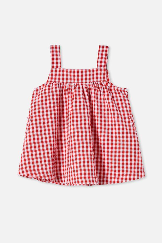 Rachael Pinafore Dress, LUCKY RED/MINI GINGHAM
