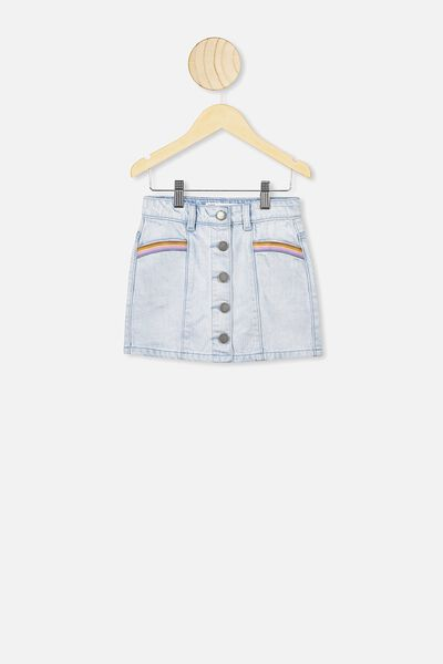 Rani Denim Skirt, BLEACH WASH/RAINBOW EMBROIDERY