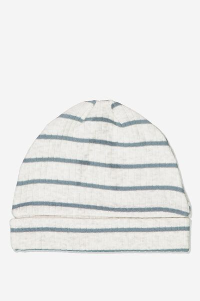 Newborn Beanie, MAX STRIPE SOFT GREY MARLE/DEEP POOL