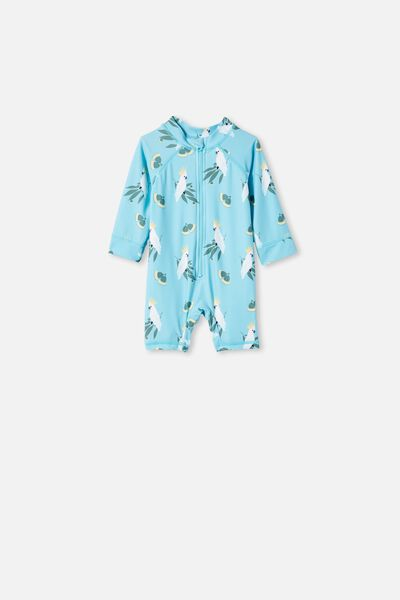 Cameron Long Sleeve Swimsuit, BLUE ICE/COCKATOOS