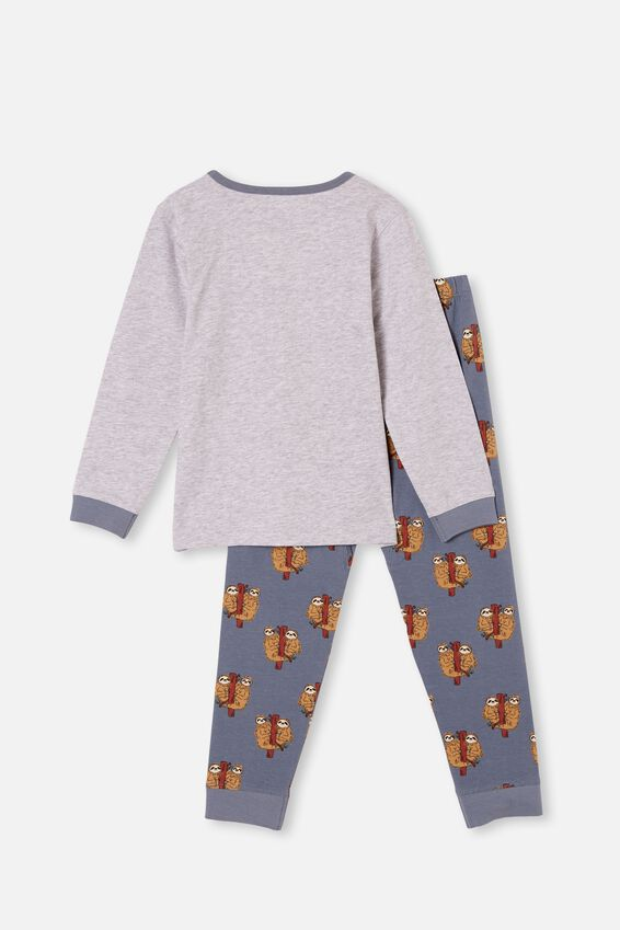 Orlando Long Sleeve Pyjama Set, SLOTH LOVE SUMMER GREY MARLE