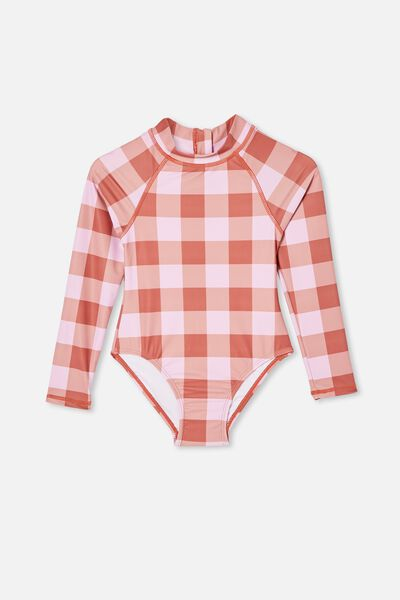 Lydia One Piece, CHUTNEY/PALE VIOLET GINGHAM