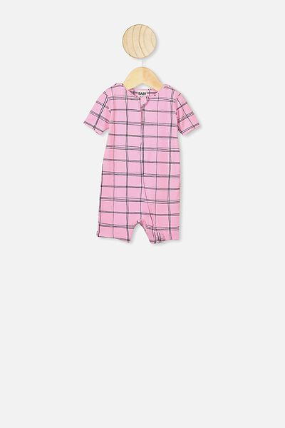 The Snug Short Sleeve Romper, CALI PINK/SKETCHY GRID