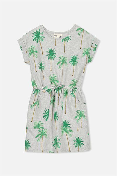Sibella Short Sleeve Dress, LT GREY MARLE/PALMS